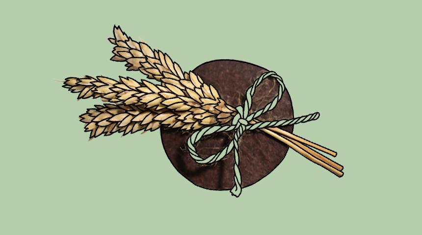 A memorial badge with ears of grain