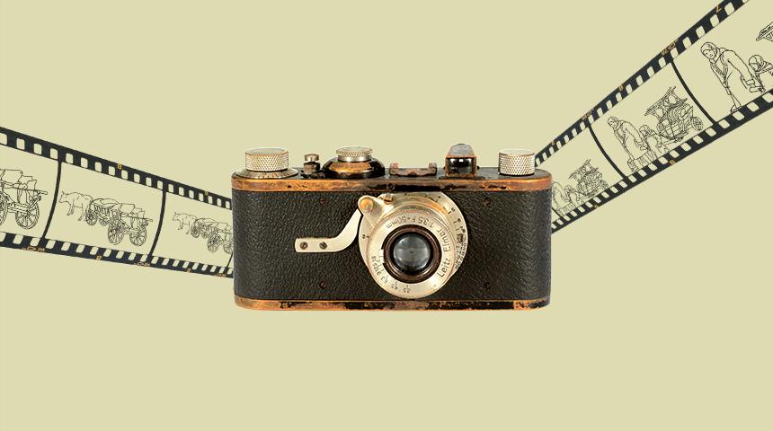 Старовинний фотоапарат і фотоплівка