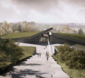Проект музею, вигляд на доріжку перед входом