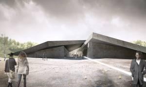Проект музею, люди на фоні входу в музей