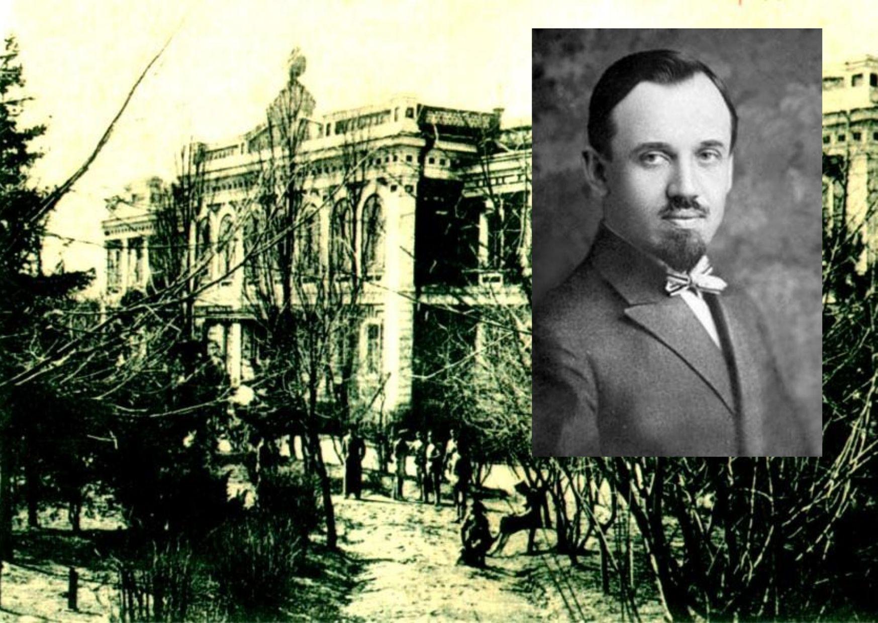 Колаж із двох фотографій, фото Ольгерда Іполита Бочковського та фото Єлисаветградського земського училища із старовинної листівки.