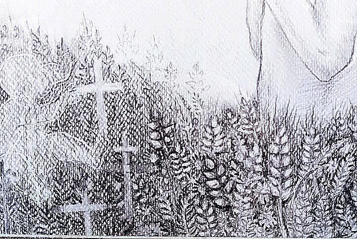 Дитячий малюнок про Голодомор (хрести та колосся зерна)