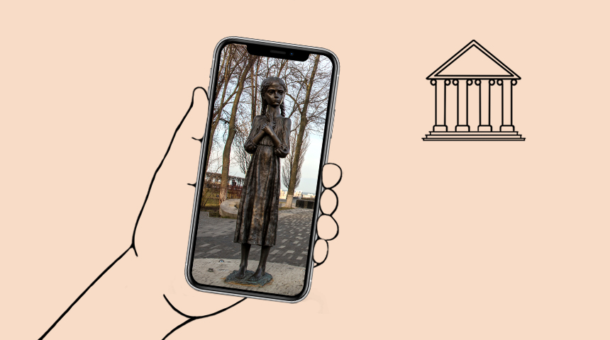A hand holding a smartphone with an image of the girl with ears of grain